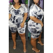 Lovely Casual V Neck Printed White Plus Size Two-p