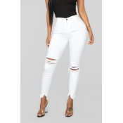Lovely Casual Broken Holes White Pants