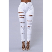 Lovely Trendy Broken Holes Black Pants