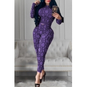 Lovely Casual Letter Printed Purple Two-piece Pant