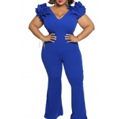 Lovely Casual V Neck Blue Plus Size One-piece Jumpsuit