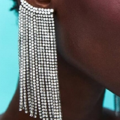 Lovely Trendy Tassel Design White Alloy Earring