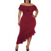 Lovely Casual Asymmetrical Flounce Design Purplish Red Ankle Length Dress