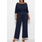 Lovely Casual Hubble-bubble Sleeves Deep Blue Plus