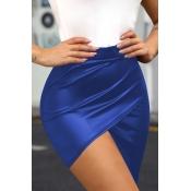 Lovely Casual Asymmetrical Royal Blue Mini Skirt
