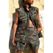 Lovely Casual Tank Sleeveless Camouflage Printed T