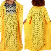 Lovely Casual Patchwork Yellow Floor Length Plus S