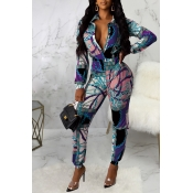 Lovely Casual Zipper Design Blue One-piece Jumpsuit