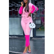 Lovely Street Hooded Collar Patchwork Pink Two-pie
