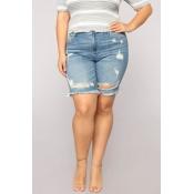 Lovely Trendy Torn Edges Blue Plus Size Shorts