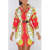 Lovely Casual Turndown Collar Printed Multicolor M