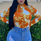 Lovely Trendy Printed Skinny Orange T-shirt