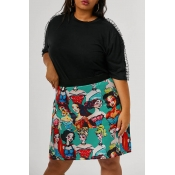 Lovely Casual Printed Multicolor Plus Size Skirts