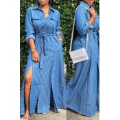 Lovely Casual Turndown Collar Side Slit Baby Blue