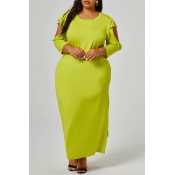 Lovely Casual O Neck Cold Shoulder Lemon Yellow An