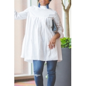 Lovely Work Ruffle Design White Blouse