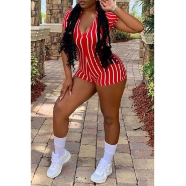 Lovely Trendy Striped Red One-piece Romper