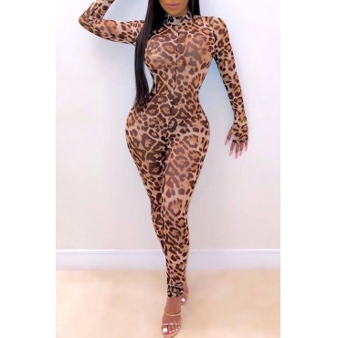 Lovely Casual Leopard Printed Jumpsuit