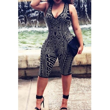 Lovely Casual Printed Black One-piece Romper