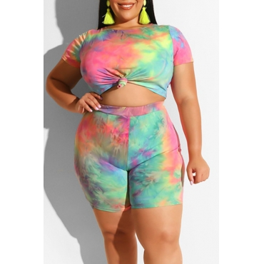 Lovely Casual Printed Multicolor Plus Size Two-piece Shorts Set