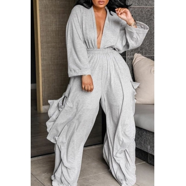 Lovely Trendy Deep V Neck Loose Green Two-piece Pants Set