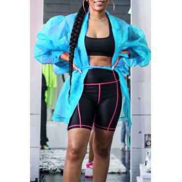 Lovely Trendy See-through Blue Coat