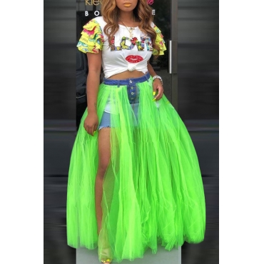 Lovely Trendy Patchwork Green Skirt