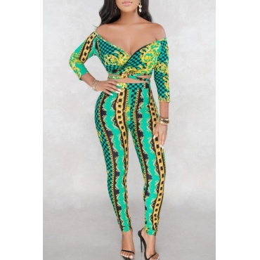 Lovely Casual V Neck Printed Green Two-piece Pants Set