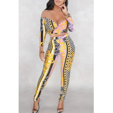Lovely Casual V Neck Printed Gold Two-piece Pants Set