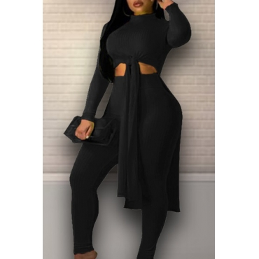 Lovely Leisure Turtleneck Knot Design Black Two-piece Pants Set