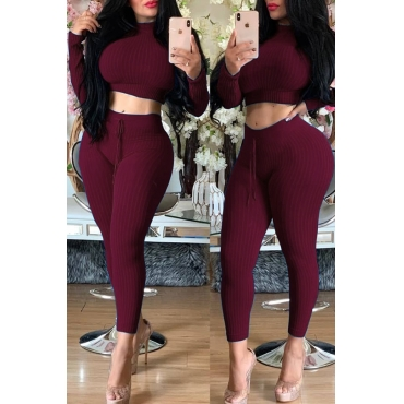 Lovely Trendy Half A Turtleneck Wine Red Two-piece Pants Set