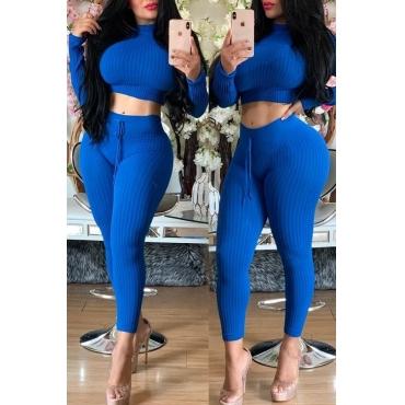 Lovely Trendy Half A Turtleneck Blue Two-piece Pants Set