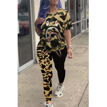 Lovely Casual Camouflage Printed Yellow Two-piece Pants Set
