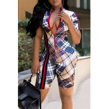 Lovely Casual Plaid Printed Zipper Design Multicolor One-piece Romper
