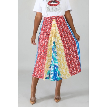Lovely Casual Printed Multicolor Mid Calf Skirt