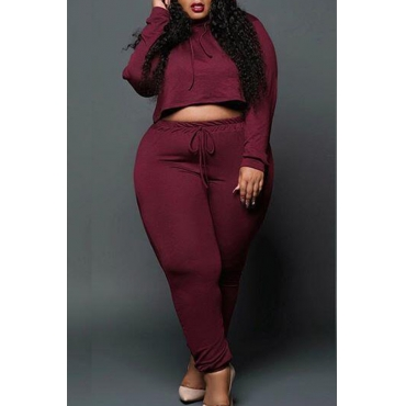 Lovely Casual Drawstring Design Plus Size Two-piece Pants Set