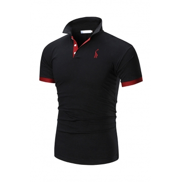 Lovely Casual Patchwork Black Polo Shirt