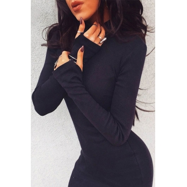 Lovely Casual Half A Turtleneck Black Mini Dress
