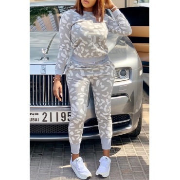 Lovely Casual Printed Grey Two-piece Pants Set