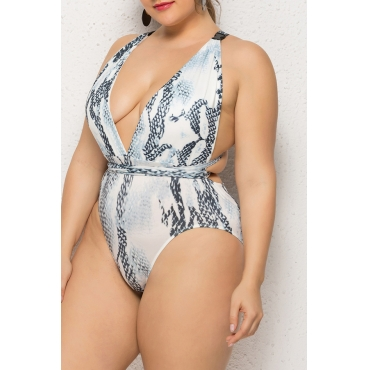 Lovely Deep V Neck Snakeskin Printed Plus Size One-piece Swimwear