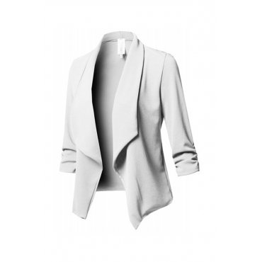 Lovely Trendy Lapel White Coat
