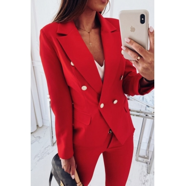 Lovely Trendy Double-breasted Red Coat