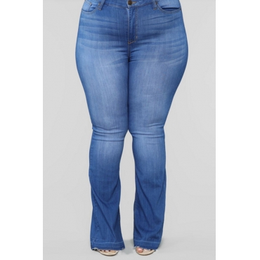 Lovely Trendy Zipper Design Deep Blue Plus Size Jeans
