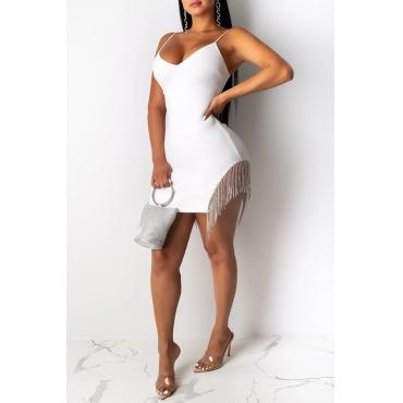 Lovely Sexy Tassel Design White Mini Dress