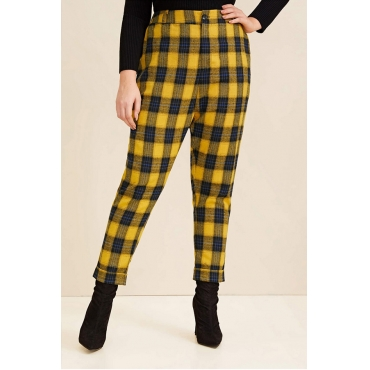 Lovely Casual Plaid Printed Yellow Plus Size Pants