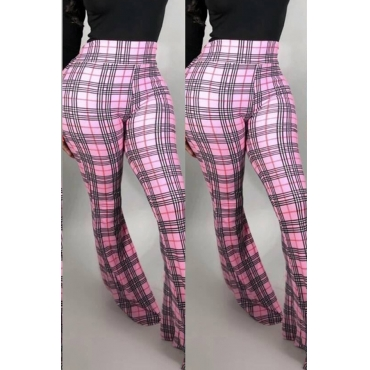 Lovely Work Plaid Printed Pink Pants