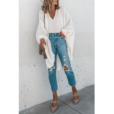 Lovely Tassel Design White Cardigan