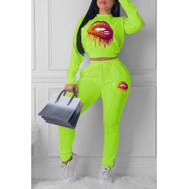 Lovely Casual Lip Printed Green Two-piece Pants Set