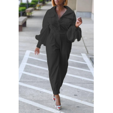 Lovely Trendy Pocket Patched Black One-piece Jumpsuit