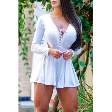 Lovely Sweet Hollow-out White One-piece Romper